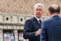 Moscow Mayor S. Sobyanin visits the Triumph Square Stock Image