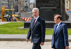 Moscow Mayor S. Sobyanin visits the Triumph Square, Moscow Royalty Free Stock Photos