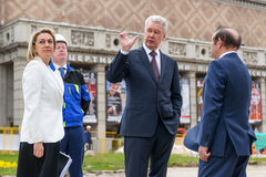 Moscow Mayor S. Sobyanin visits the Triumph Square, Moscow Royalty Free Stock Photography