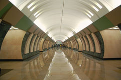 Moscow metro, interior of station Maryina Roshcha Royalty Free Stock Image