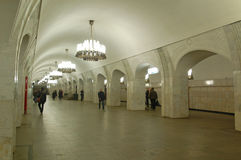 The Moscow metro, interior of station Pushkinskaya Stock Photos