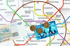 Moscow Metro map and card  Royalty Free Stock Photos