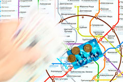 Moscow Metro map and transport card  Stock Photo