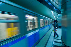 Moscow metro passengers Royalty Free Stock Photos