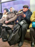 Moscow metro passengers Royalty Free Stock Images