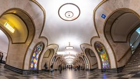 Moscow metro Russia time lapse. Moscow subway metro timelapse at Novoslobodskaya Station, Moscow Russia 4K Time lapse stock video