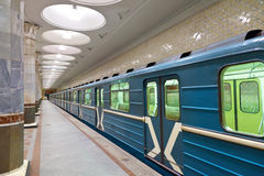 Moscow metro station. Interior of metro station Kievskaya in Moscow royalty free stock photos