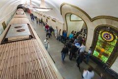 MOSCOW metro station Novoslobodskaia, Russia. Royalty Free Stock Photos