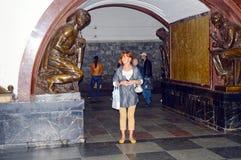 Moscow metro station. Plaza of the Revolution Stock Photos