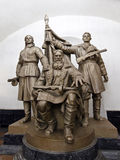 Moscow Metro statue. The statue Belarussian Partisans at the Belorusskaya Station of the Moscow Metro, Russia, devoted to the guerilla war at the territory of Stock Image