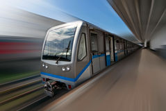 Moscow metro train in motion Royalty Free Stock Photos