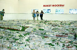 Moscow model with all streets. August 26, 2016, Moscow, Russia, Moscow Model with all the streets and buildings, made to scale Royalty Free Stock Image