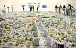 Moscow model with all streets. August 26, 2016, Moscow, Russia, Moscow Model with all the streets and buildings, made to scale Stock Photography