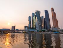Moscow Modern Buildings Of Glass And Steel Skyscrapers Against The Sky On October 14, 2017 In Moscow, Russia Royalty Free Stock Image