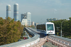 Moscow monorail fast train on railway, close-up Stock Image