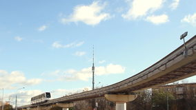 Moscow monorail in Ostankino at sunny day. Modern Moscow monorail in Ostankino stock video
