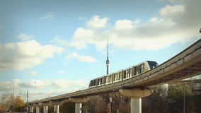Moscow monorail. At sunny day stock footage