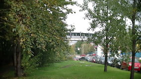 The Moscow monorail train in the area of Ostankino TV center stock video