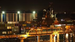 The Moscow monorail train in the area of Ostankino TV center stock video footage