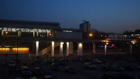 The Moscow monorail train in the area of Ostankino TV center. In night stock video footage