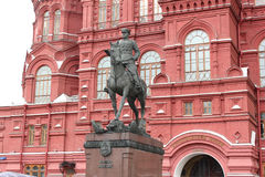 Moscow. Monument of Georgy Zhukov at the History Museum Royalty Free Stock Photos