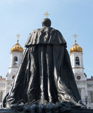 Moscow. Monument to the emperor Alexander II and Cathedral of Christ the Saviour Stock Image