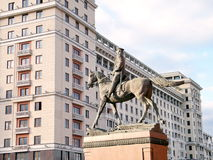 Moscow Monument to Marshal Zhukov and hotel Moscow 2011 Stock Image
