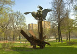 Moscow, monument to speared Pegasus Royalty Free Stock Photo