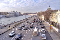 moscow Moskvoretskaya invallning Royaltyfri Bild