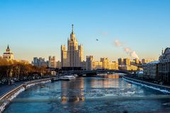 Moscow is the most beautiful city on earth - Kremlin, Cathedral and residential quarter of Moscow city royalty free stock photo