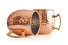 Moscow mule cocktail copper mug. Isolated on white background Royalty Free Stock Photo