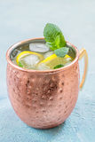 Moscow Mule cocktail with ginger beer, vodka and lemon Royalty Free Stock Photo