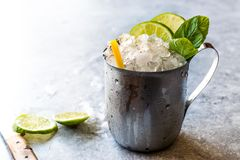 Moscow Mule Cocktail with Lime, Mint Leaves and Crushed Ice in Metal Cup. Summer Beverage royalty free stock images