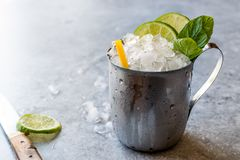 Moscow Mule Cocktail with Lime, Mint Leaves and Crushed Ice in Metal Cup. Summer Beverage royalty free stock photo