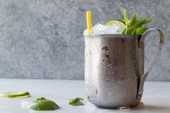 Moscow Mule Cocktail with Lime, Mint Leaves and Crushed Ice in Metal Cup. Summer Beverage royalty free stock photos