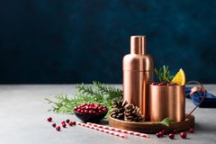 Moscow mule cocktail set, Christmas and New Year holiday drink. Copy space. Moscow mule cocktail set, Christmas and New Year holiday drink. Copy space royalty free stock photography