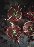 Moscow Mule cocktails garnished with cranberries and lime royalty free stock images