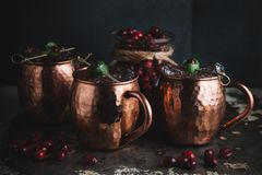 Moscow Mule cocktails garnished with cranberries and lime royalty free stock photography