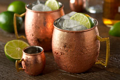 Moscow Mule. A delicious moscow mule cocktail with vodka, ginger beer, lime juice and ice Royalty Free Stock Image
