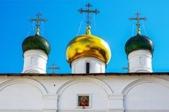 Moscow, multicolored onion domes of the Orthodox Cathedral Stock Photos