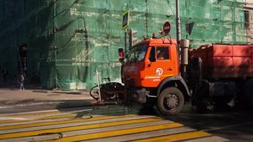 Street cleaning machine in Moscow, Russia. Moscow municipal services take care about the area so citizens can enjoy the neatness and beauty of the urban stock video