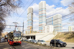 Moscow. The N17 tram is approaching the stop. Russia. Moscow. tram is approaching the stop. episode of everyday life stock photo
