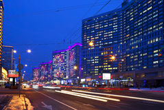 Moscow. New Arbat street in the evening. Stock Photos