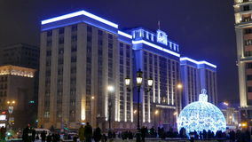 Moscow New Year holidays. Russian Parliament building. stock video footage