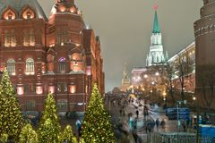 Moscow. New years Manezhnaya Square Royalty Free Stock Photos