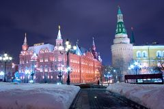 Moscow night historical landmark Stock Images