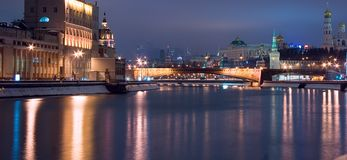 Moscow night historic cityscape Stock Images