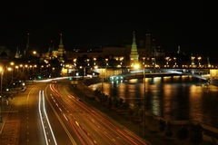Moscow night with a beautiful. View of the Kremlin Royalty Free Stock Images