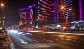 Moscow night cityscape with street traffic. Stock Photography