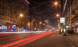 Moscow night cityscape with street traffic. Royalty Free Stock Images